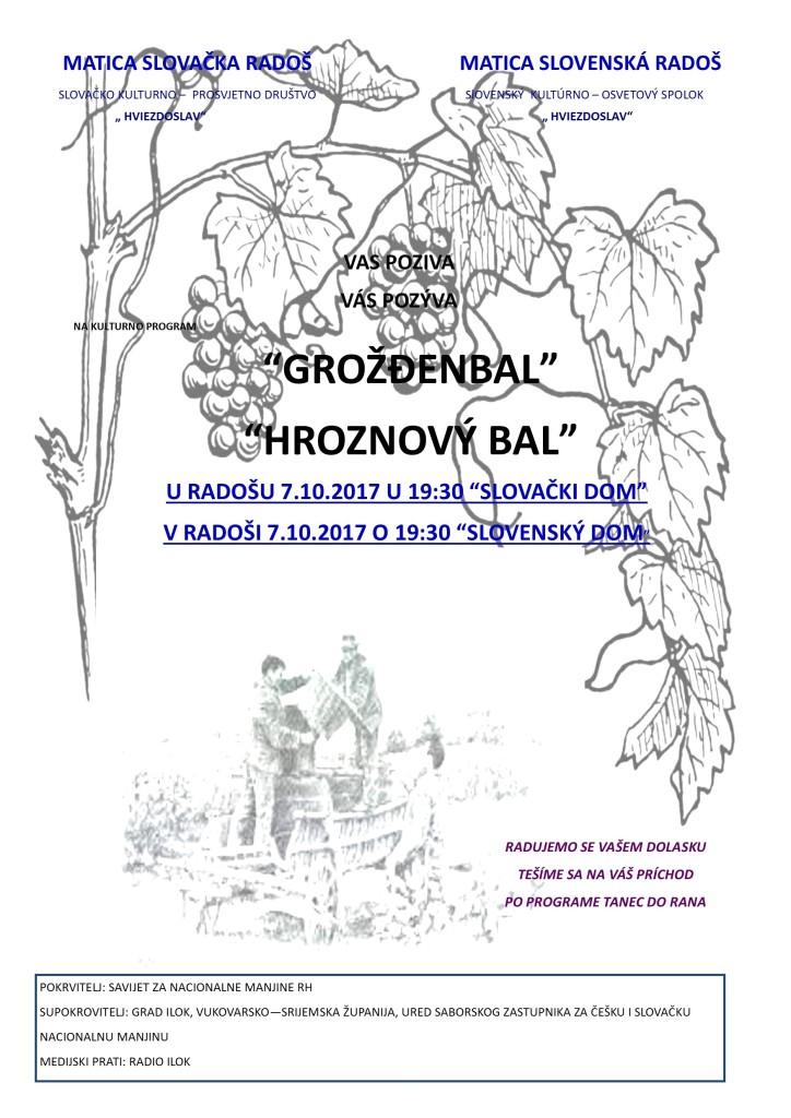 HROZNOVÝ BÁL @ MATICA SLOVAČKA RADOŠ, SLOVAČKO KULTURNO-PROSVJETNO DRUŠTVO HVIEZDOSLAV | Roadeș | Județul Brașov | Rumunjska