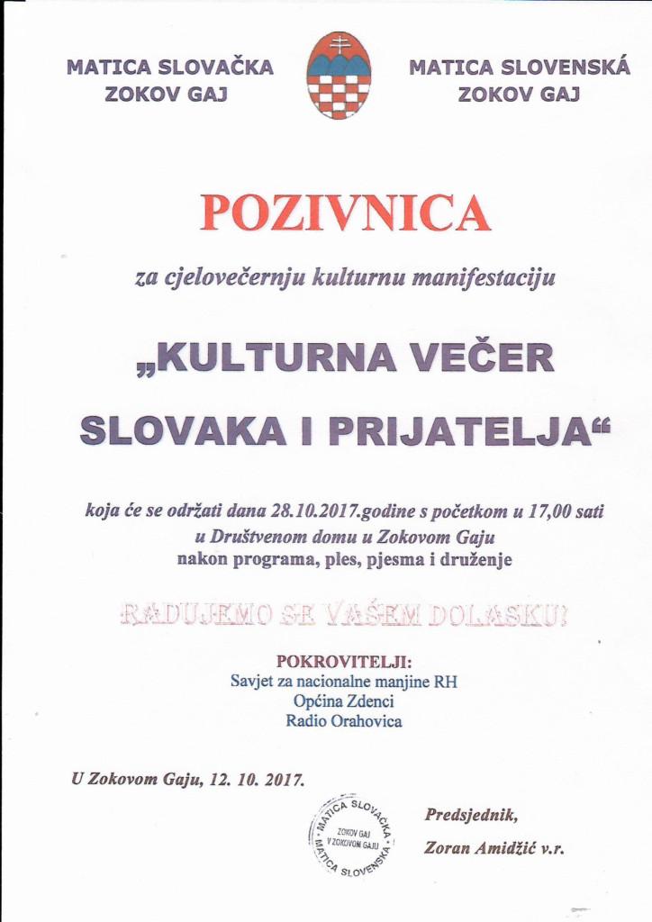 KULTURNA VEČER SLOVAKA I PRIJATELJA @ MATICA SLOVAČKA ZOKOV GAJ | Zokov Gaj | Virovitičko-podravska županija | Hrvatska