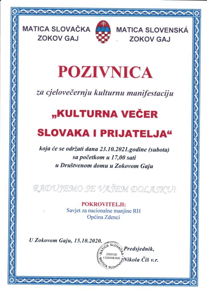 KULTURNA VEČER SLOVAKA I PRIJATELJA @ MATICA SLOVAČKA ZOKOV GAJ