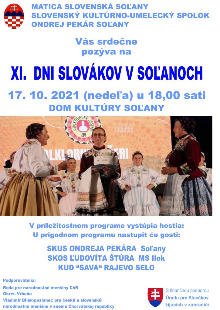 XI. DNI SLOVÁKOV V SOL´ANOCH @ MATICA SLOVENSKÁ SOL´ANY A SLOVENSKÝ KULTÚRNO-UMELECKÝ SPOLOK ONDREJ PEKÁR SOL´ANY